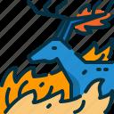 animal, burn, deer, disaster, polution, wildfire, wildlife icon