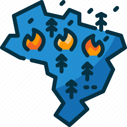 amazon, brazil, disaster, forest, map, tree, wildfire icon