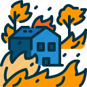 building, burn, disaster, forest, home, house, wildfire icon