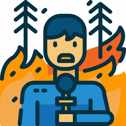 burn, disaster, forest, journalist, news, reporter, wildfire icon