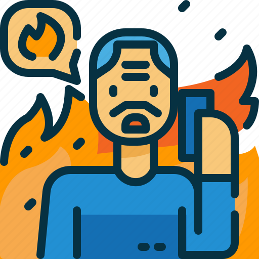 burn, call, disaster, person, phone, sos, wildfire icon
