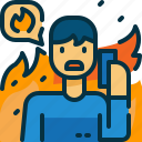 call, disaster, man, person, phone, sos, wildfire icon