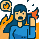 call, disaster, person, phone, sos, wildfire, woman icon