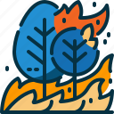 burn, disaster, forest, nature, polution, tree, wildfire icon