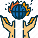 earth, globe, polution, safe, save, wildfire, world icon