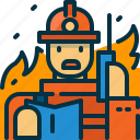 calling, communication, firefighter, firefighting, person, phone, wildfire icon