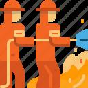 extinguish, firefighter, firefighting, team, teamwork, wildfire icon