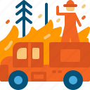 extinguish, firefighter, firefighting, person, truck, wildfire, work icon