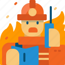 calling, communication, firefighter, firefighting, man, person, wildfire icon