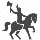 american, axe, horse, indian, man, war, warrior icon