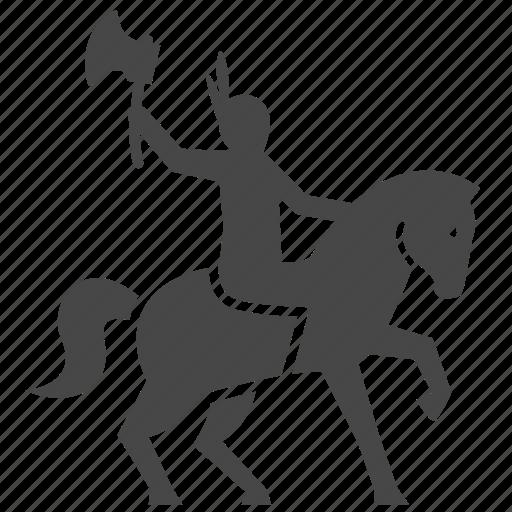 american, axe, horse, indian, man, war, warrior icon
