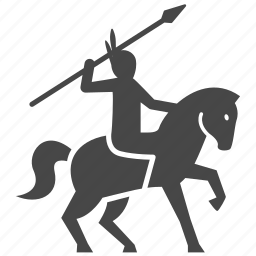 american, horse, indian, man, spear, war, warrior icon