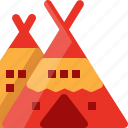 american, camp, indian, red, tent, united state, usa icon