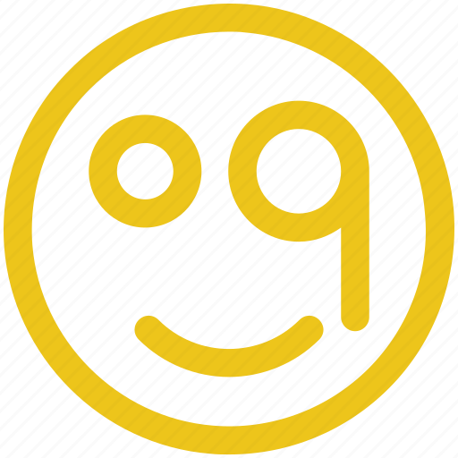 circle, circular, emoji, emoticon, face, glasses, round icon icon