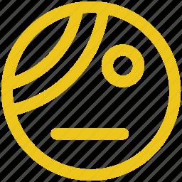 bandage, emoji, emoticon, illness, pain, patient icon icon