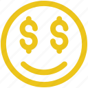 dollar, emoji, emoticon, happy, money, smile icon icon