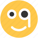 circle, circular, emoji, emoticon, face, glasses, round icon icon