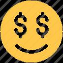 dollar, emoji, emoticon, happy, money, smile icon icon