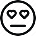 emoji, face, heart, love, neutral icon icon