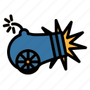 artillery, cannon, fire, fuse, shoot icon