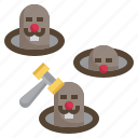 mole, hit, game, fair, gaming icon