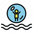 rollerball, water park, water rollerball icon