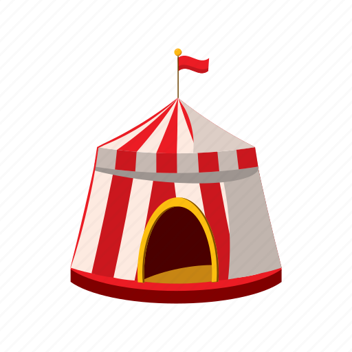 carnival, cartoon, circus, entertainment, flag, show, tent icon