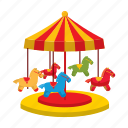 balance, carousel, cartoon, childhood, fun, horses, park icon