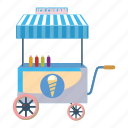 cart, cartoon, cream, dessert, ice, market, sweet icon