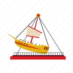 balance, boat, cartoon, childhood, fun, park, swing icon