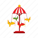 balance, carousel, cartoon, childhood, childrens, park, planes icon