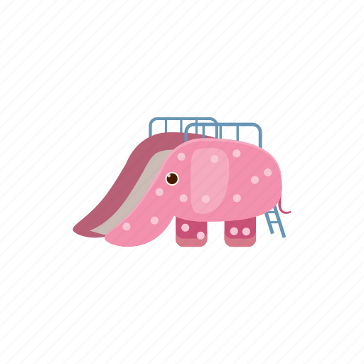 cartoon, childrens, elephant, fun, kid, playground, slide icon