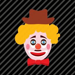 carnival, cartoon, clown, face, hat, humor, jester icon