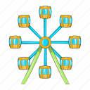 amusement, carnival, cartoon, ferris, park, spin, wheel icon