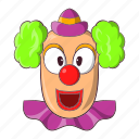 carnival, cartoon, circus, clown, face, happy, smile icon