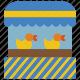 amusements, duck, fair, fun, game, hook, shoot icon