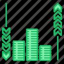 arrow, cash, flow, investments, money icon