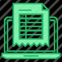 computer, invoice, online, report icon