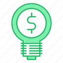 bulb, idea, investments, money, smart, solution icon