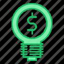 bulb, idea, investments, money, smart, solution