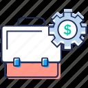 business configuration, business management, financial management, portfolio settings, portfolio with gear icon