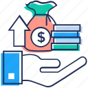 coin stack, financial investment, investment, money saving, save asset icon
