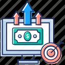 business advancement, money growth, online business target, online financial growth, online money growth icon