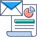 business communication, business email, business message, business paper, report icon