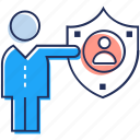 employee protection, employee security, hr, secured profile, staff safety icon