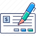 bank cheque, cheque signing, cheque writing, financial cheque, financial paper icon