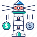 beacon lighting, business direction, business guidance, business investment, business vision, financial guide icon