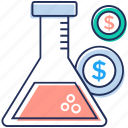 business research, financial lab, financial research, money testing icon