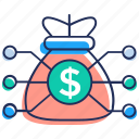 bank marketing, financial connection, financial network, money flow, money network icon