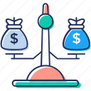 balance scale, business justice, business scale, financial scale, legal scale icon